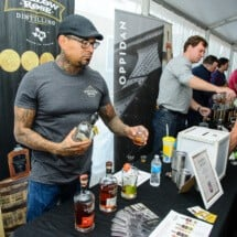 Vender selling Bourbon at Roscoe Village Bourbon and Barbecue Festival